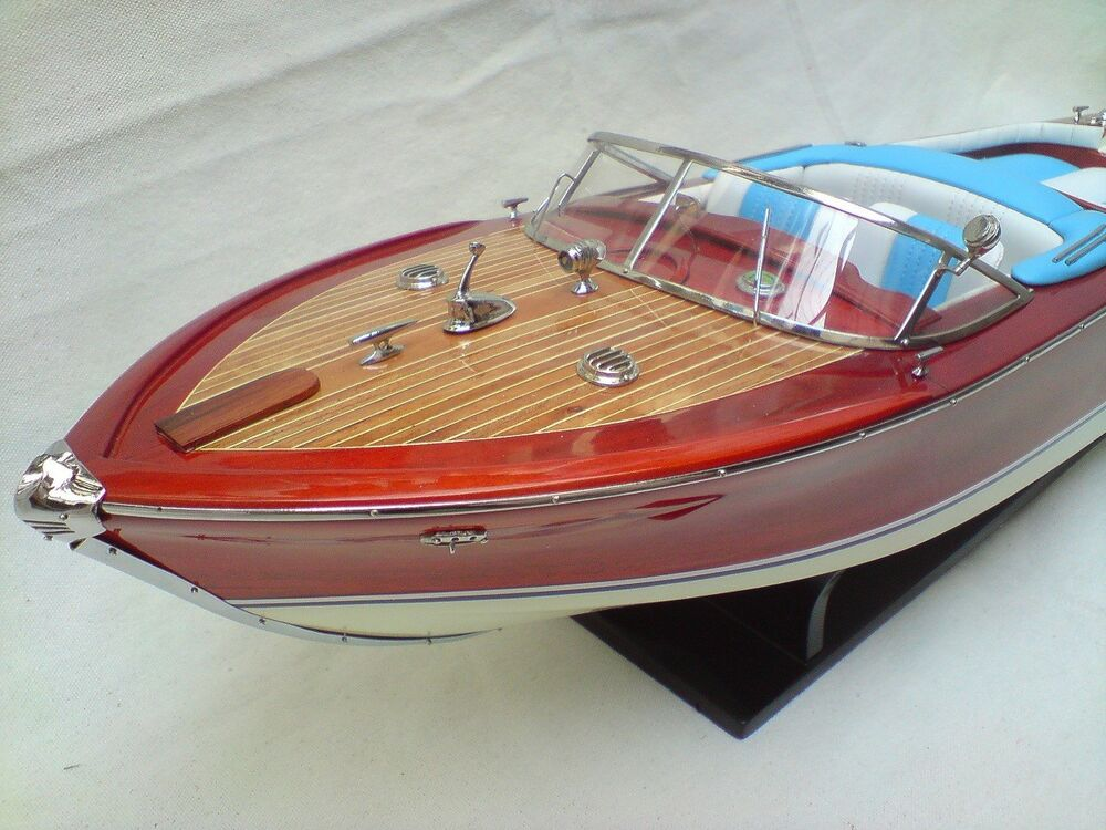 riva aquarama 26 quality wood model boat white blue handmade italian boat ebay. Black Bedroom Furniture Sets. Home Design Ideas