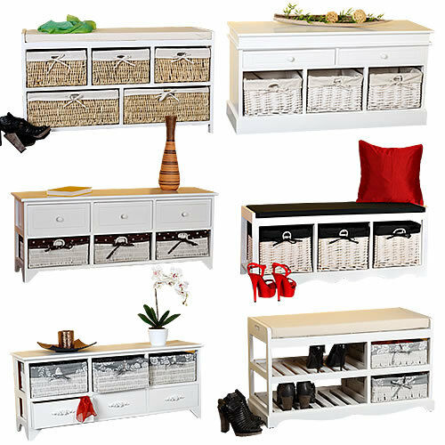 kommode sitzbank truhe landhaus schrank mit schubladen regal holzbank sideboard ebay. Black Bedroom Furniture Sets. Home Design Ideas