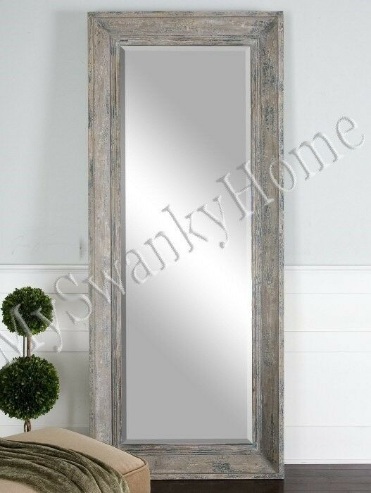 Xl Rustic Blue Green Cottage Wood Wall Mirror Floor