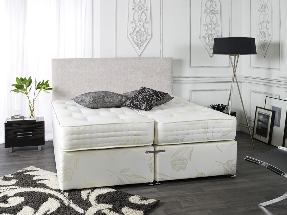 5ft kingsize zip and link divan bed with 1500 pocket sprung mattresses ebay Zip and link divan beds
