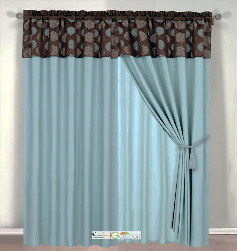 Blue And Tan Curtains: 4Pc Tropical Palm Leaf Jacquard Curtain Set Slate Blue