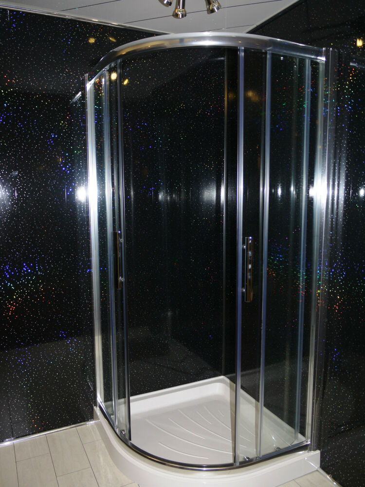 Black Sparkle 8mm PVC Cladding Bathroom Shower Ceiling Panels Wet Wall  Plastic. Wet Wall Shower Panels   eBay
