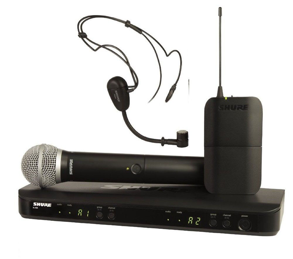 new shure blx1288 p31 dual headset handheld uhf wireless microphone system new ebay. Black Bedroom Furniture Sets. Home Design Ideas