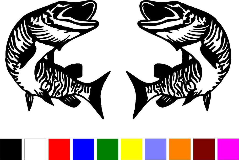 2 muskie musky fish fishing truck boat right left vinyl for Fishing stickers for trucks