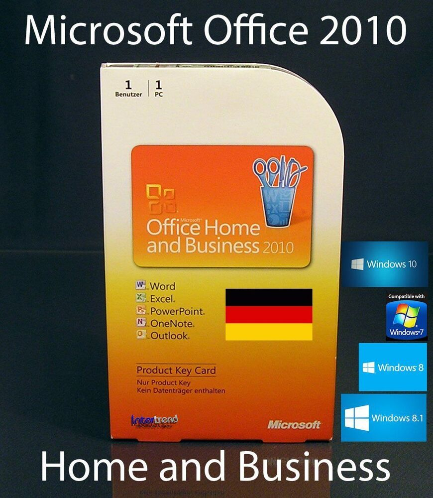 microsoft office home and business 2010 vollversion box 32. Black Bedroom Furniture Sets. Home Design Ideas