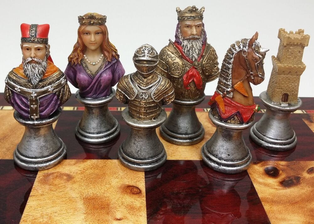 Medieval times crusades busts painted chess men set no board ebay - Medieval times chess set ...