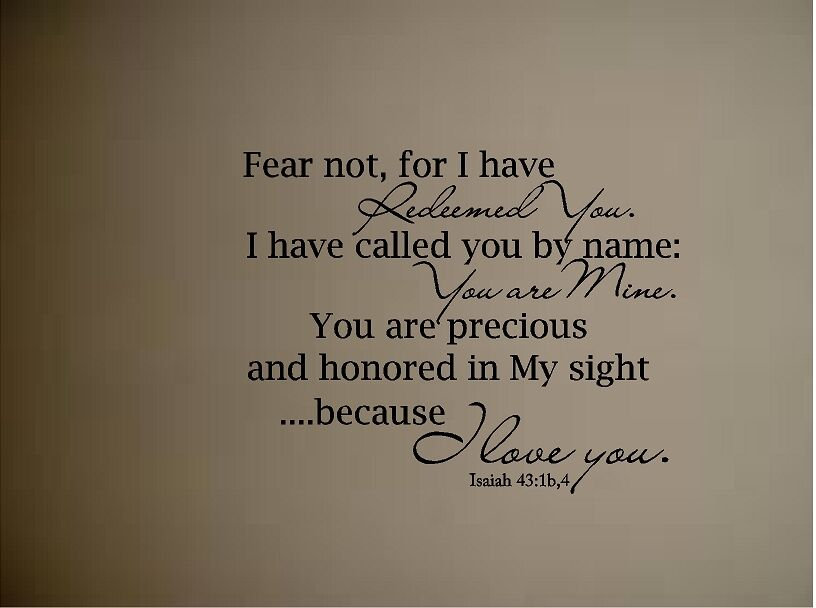 Isaiah 43 Bible Quote Verse Vinyl Wall Decal Fear Not For