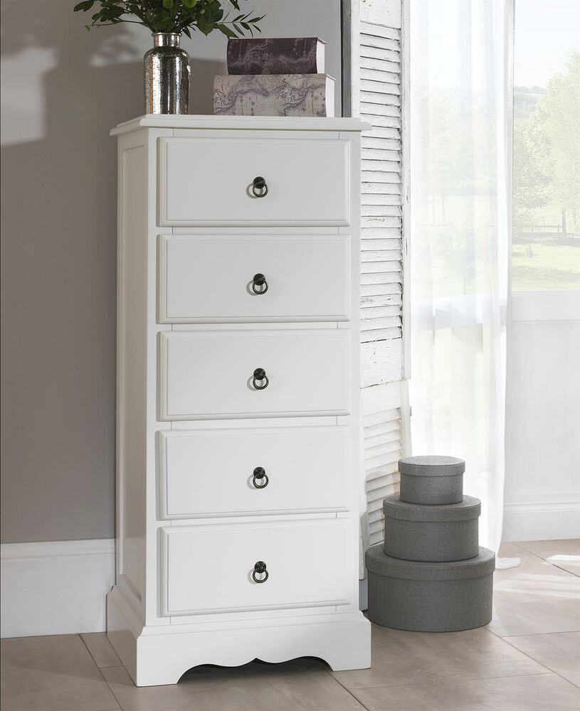 Romance 5 Drawer Tallboy Shabby Chic White Narrow Chest Of Drawers Assembled Ebay