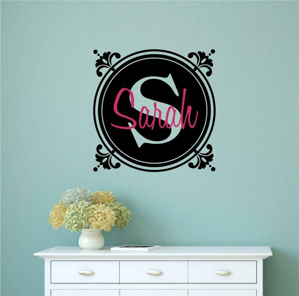 Custom monogram letter with name vinyl decal wall stickers for Custom wall letter stickers