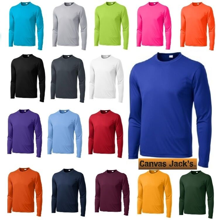 Men 39 s moisture wicking dry fit sport tek long sleeve t for Custom dry fit shirts