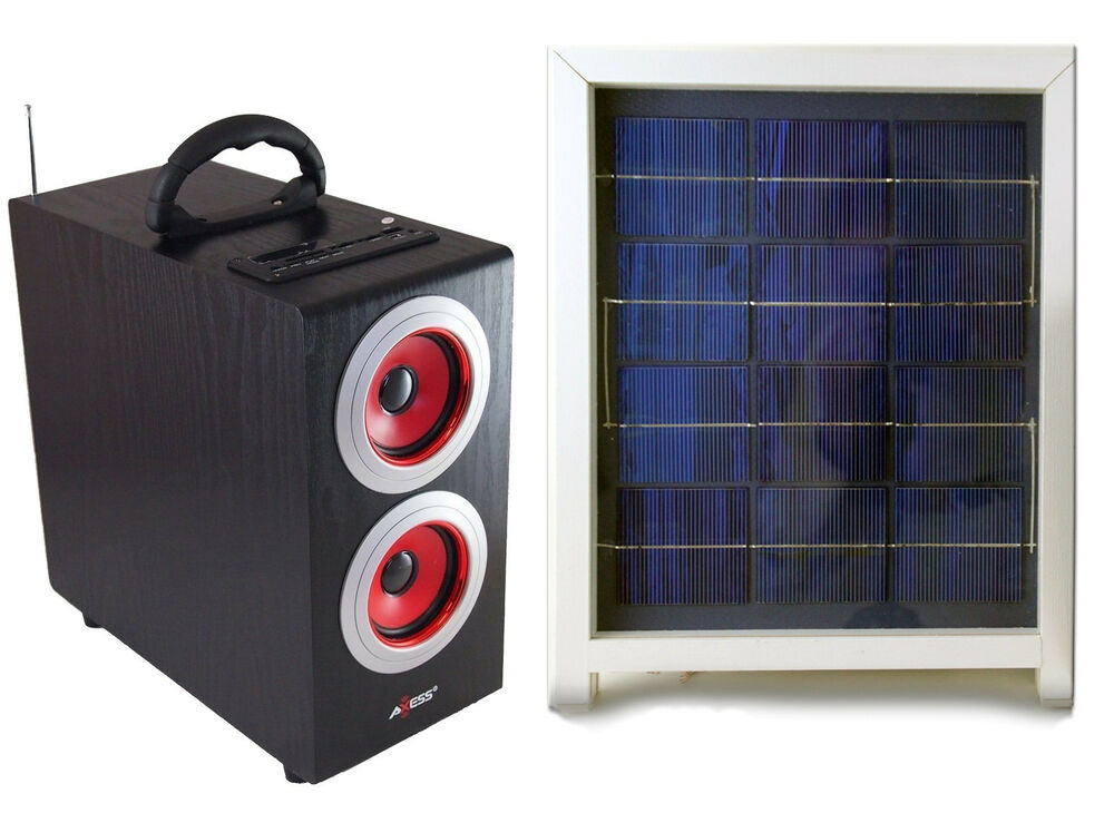 Solar Power Radio Boombox With Subwoofer Portable Boombox