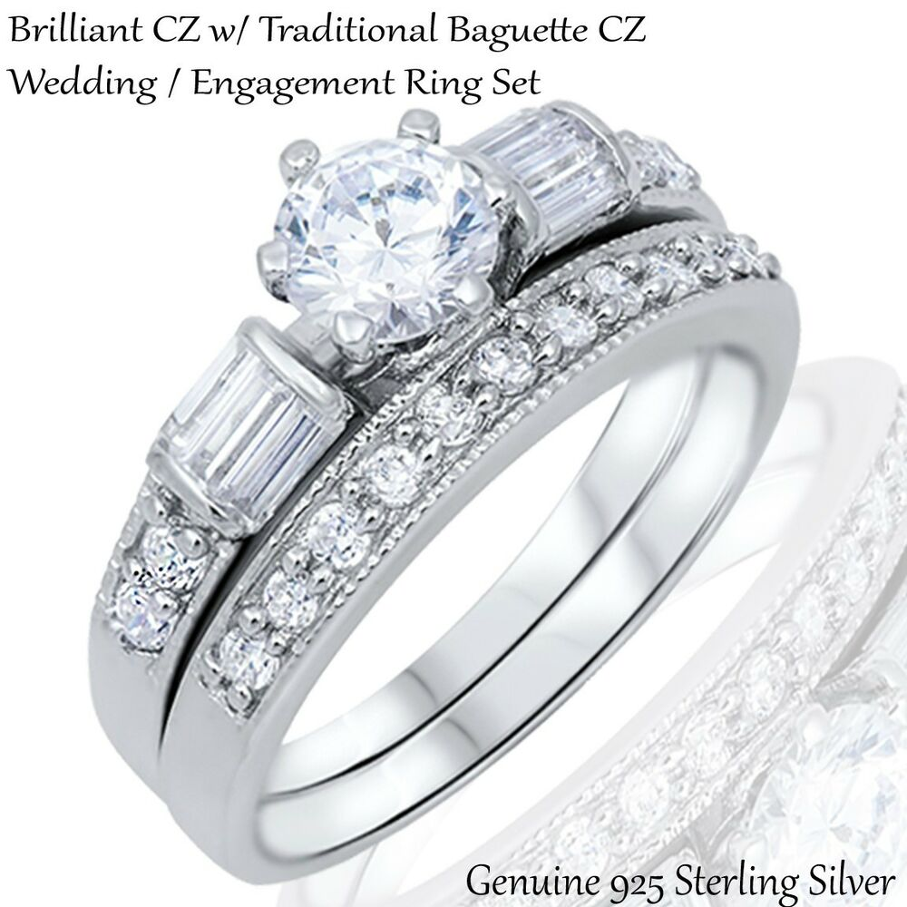 Brilliant Engagement Wedding Traditional Baguette CZ Silver Ring Set
