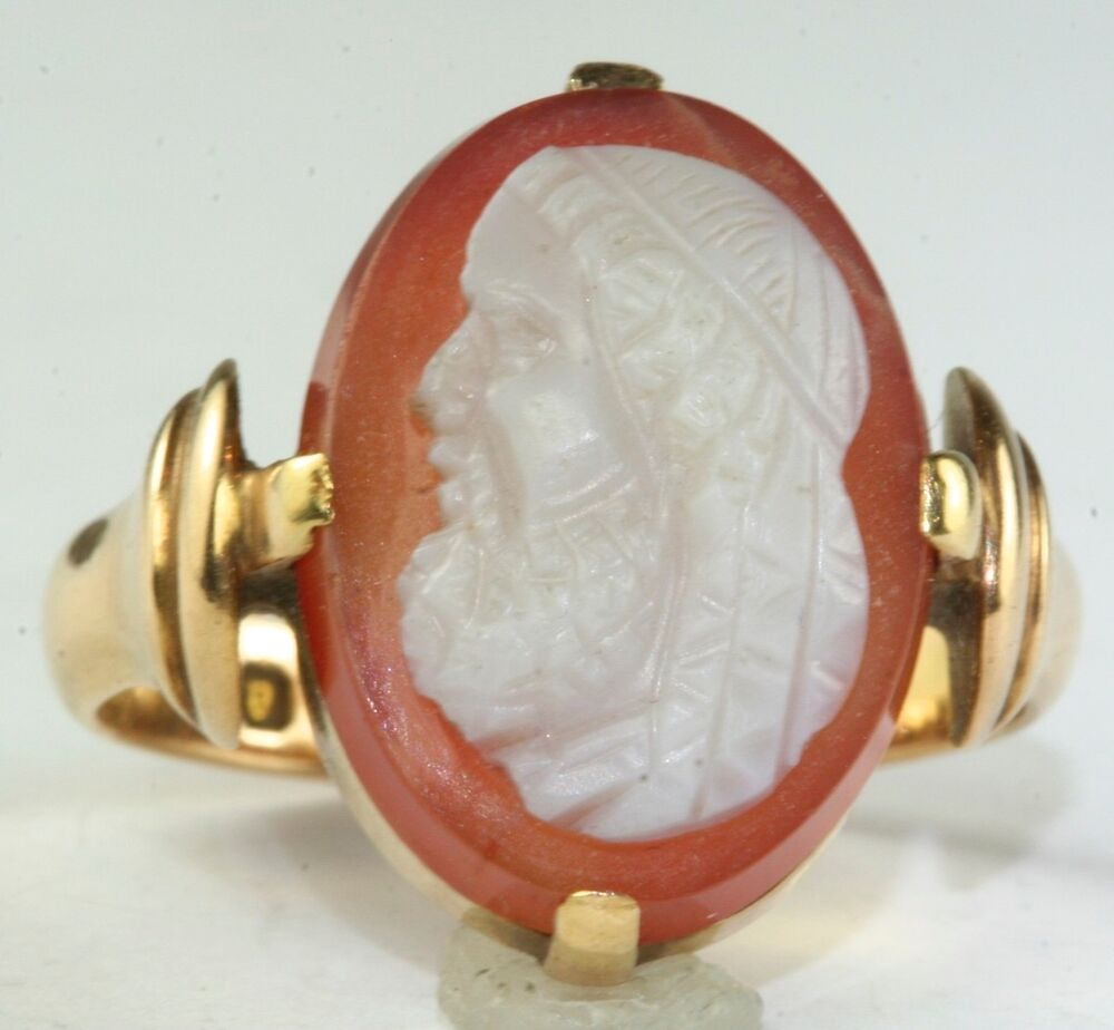 Victorian Antique 15ct 15k Gold Hard Stone Cameo Ring Size 9 25 Ebay