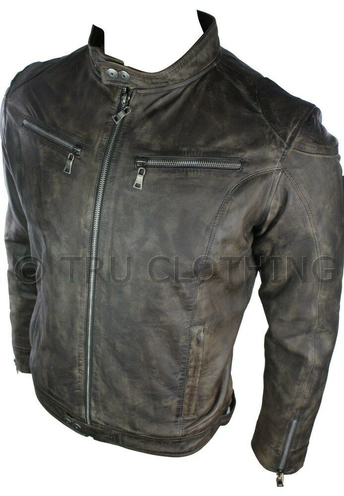 herren echte lederjacke biker stil vintage braun. Black Bedroom Furniture Sets. Home Design Ideas