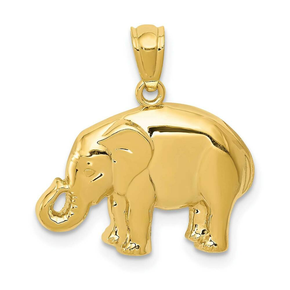 14k yellow gold elephant solid polished charm pendant for What is gold polished jewelry