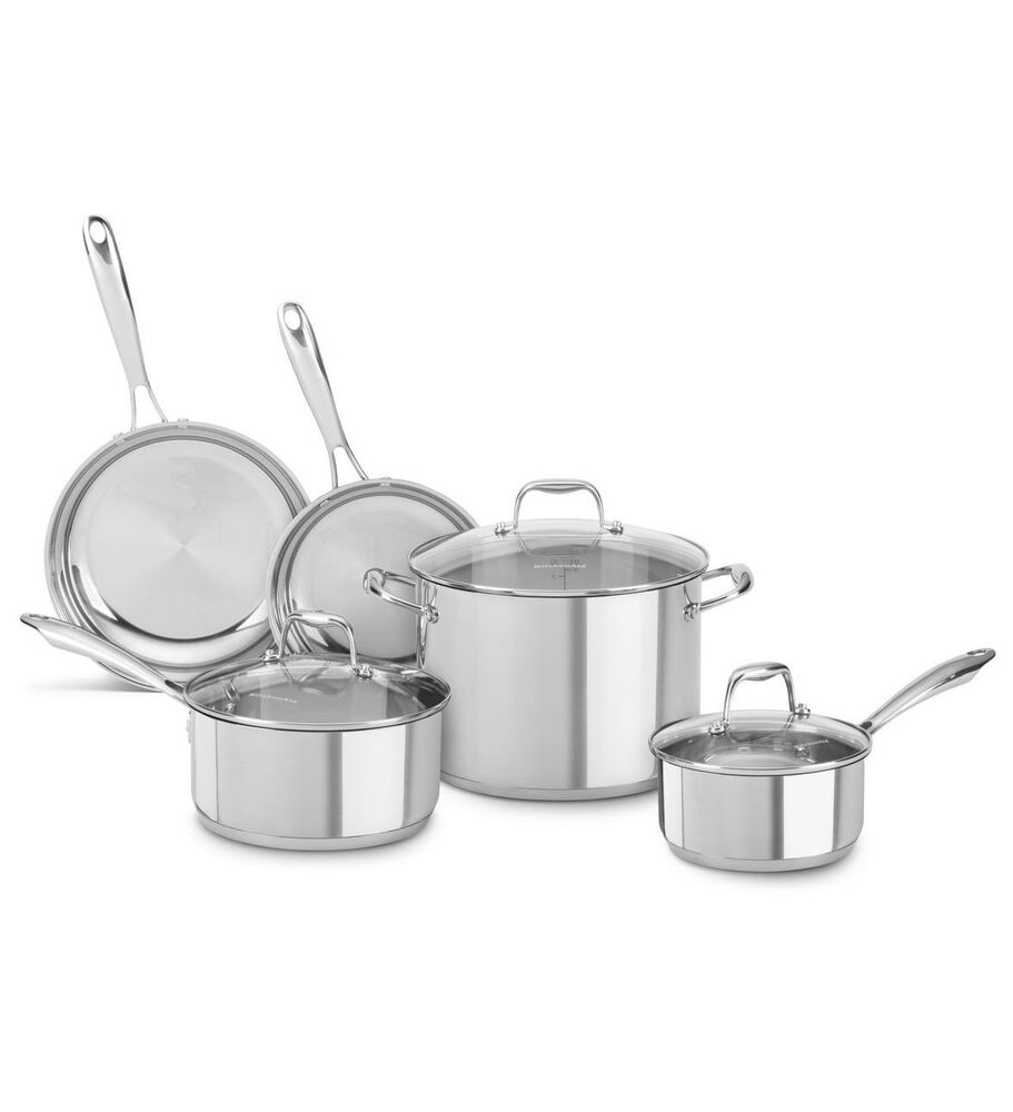 new kitchenaid stainless steel 8 piece cookware pots and pans set kcss08ls ebay. Black Bedroom Furniture Sets. Home Design Ideas