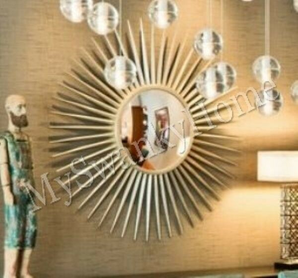 Extra large 42 silver sunburst starburst wall mirror xl for Large silver modern mirror