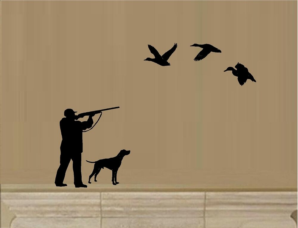 Duck hunting hunting ducks with dog hunter rifle vinyl for Duck hunting mural