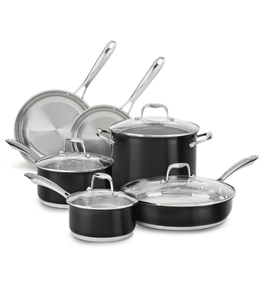 new kitchenaid stainless steel 10 pc cookware pots pans set kcss10ob black ebay. Black Bedroom Furniture Sets. Home Design Ideas