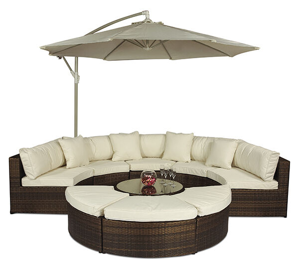 Monaco Modular Outdoor Rattan Patio Garden Furniture Sofa Set With Large Parasol Ebay