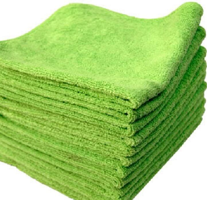 24 LIME MICROFIBER TOWELS NEW CLEANING CLOTHS BULK 16X16