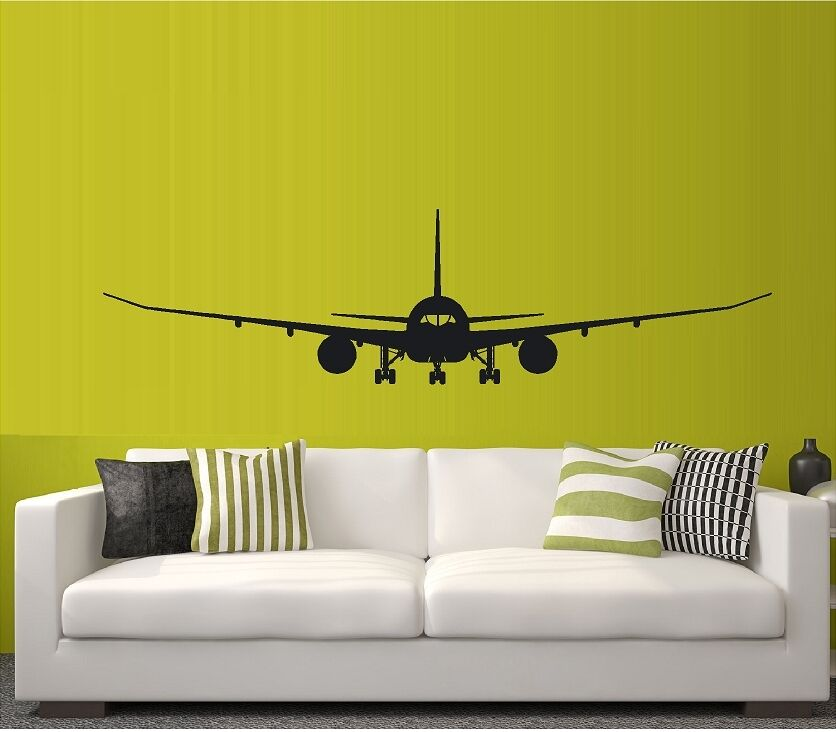 Jet 787 747 jet liner jumbo jet air plane vinyl wall decal for Aeroplane wall mural