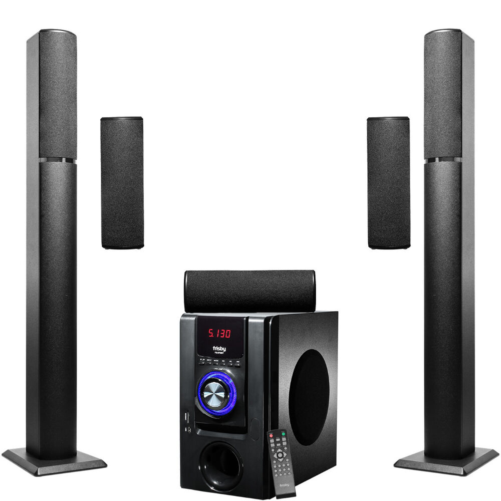 frisby 2500 watt bluetooth wireless surround sound tower home theater speakers ebay. Black Bedroom Furniture Sets. Home Design Ideas