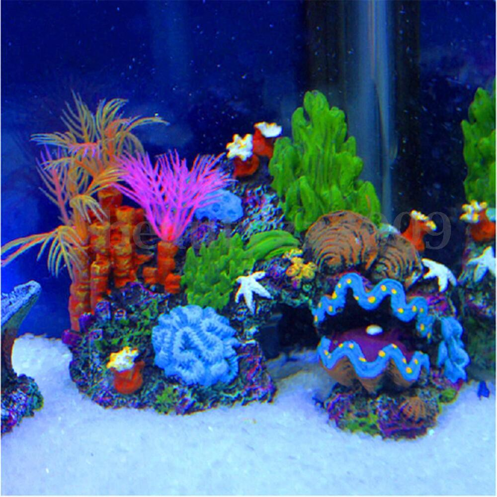 Resin sucker mounted coral reef fish tank cave decoration for Aquarium mountain decoration