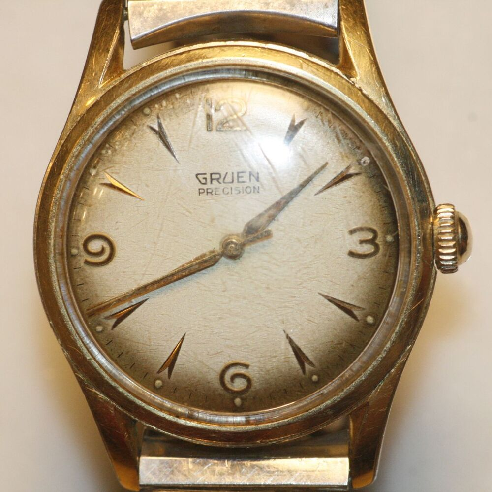 vintage gruen precision swiss watch 17 jewels antiqued dial ebay. Black Bedroom Furniture Sets. Home Design Ideas