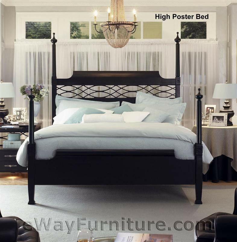 New american federal queen black wood four poster bed - Black queen bedroom furniture set ...