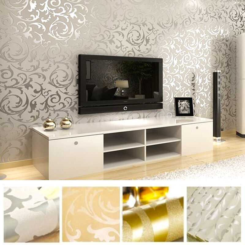 Victorian damask luxury wallpaper 3d feature wall silver for Wallpaper for feature wall living room