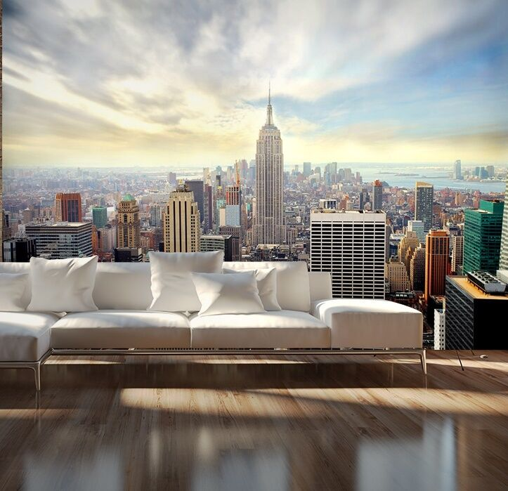 wallpaper mural photo new york skyline wall decor paper giant poster. Black Bedroom Furniture Sets. Home Design Ideas
