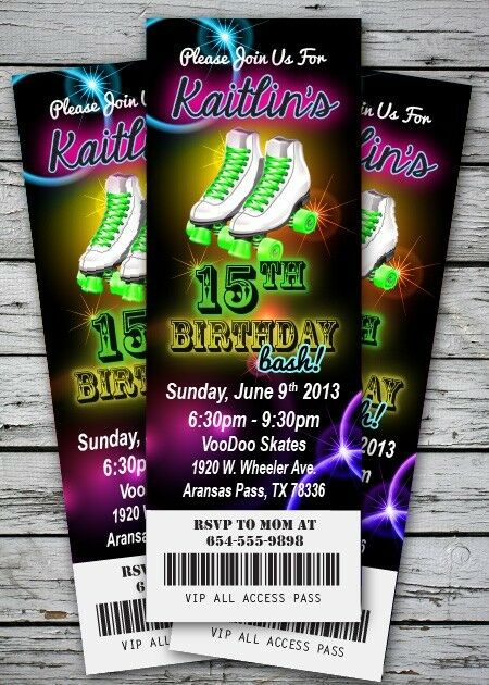 roller skating glow neon birthday party invitations 50 pc printed, Party invitations