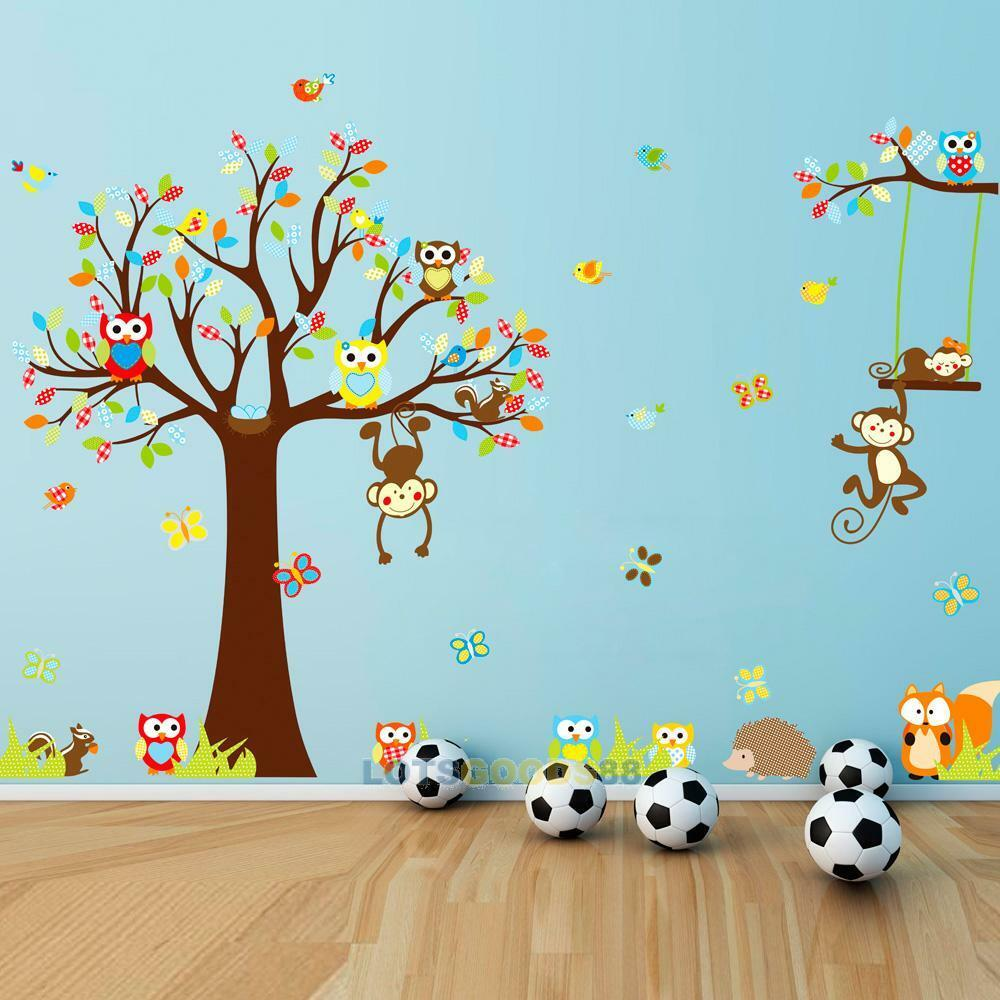 removable tree owl wall decals kids bedroom baby nursery stickers art room decor ebay. Black Bedroom Furniture Sets. Home Design Ideas