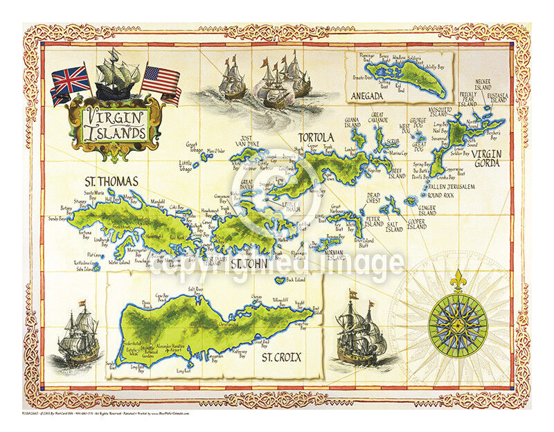 X US Virgin Islands Vintage Look Map Printed On French - Us parchment map