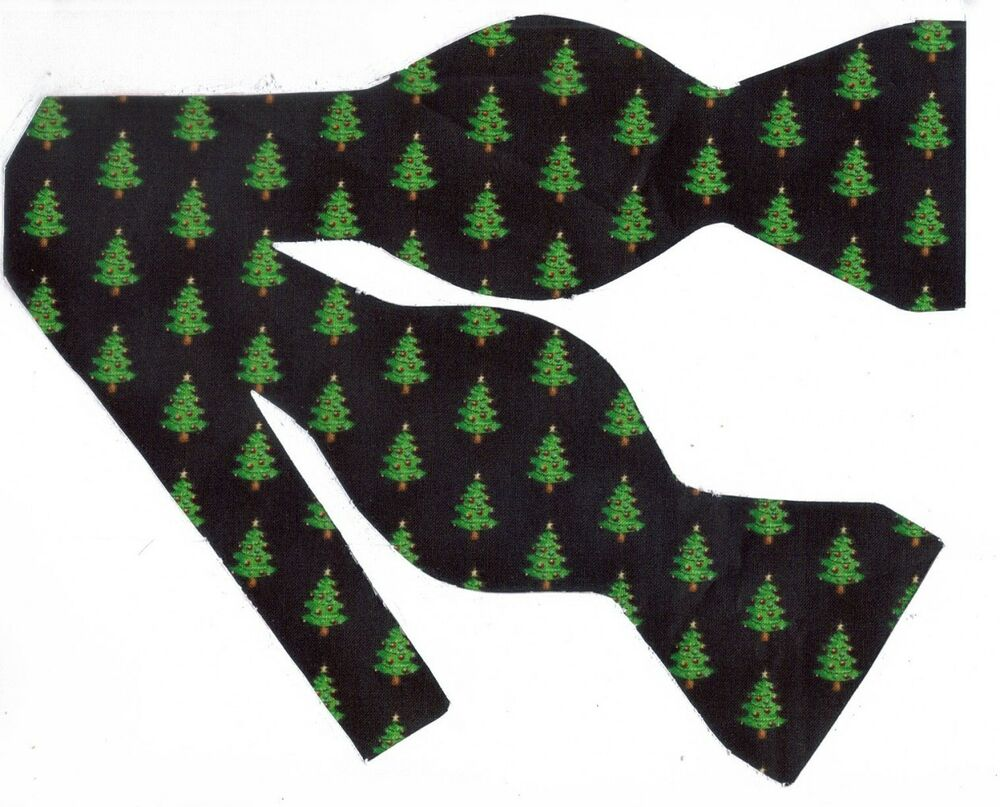 Christmas Bow Tie / Mini Christmas Trees On Black / Self