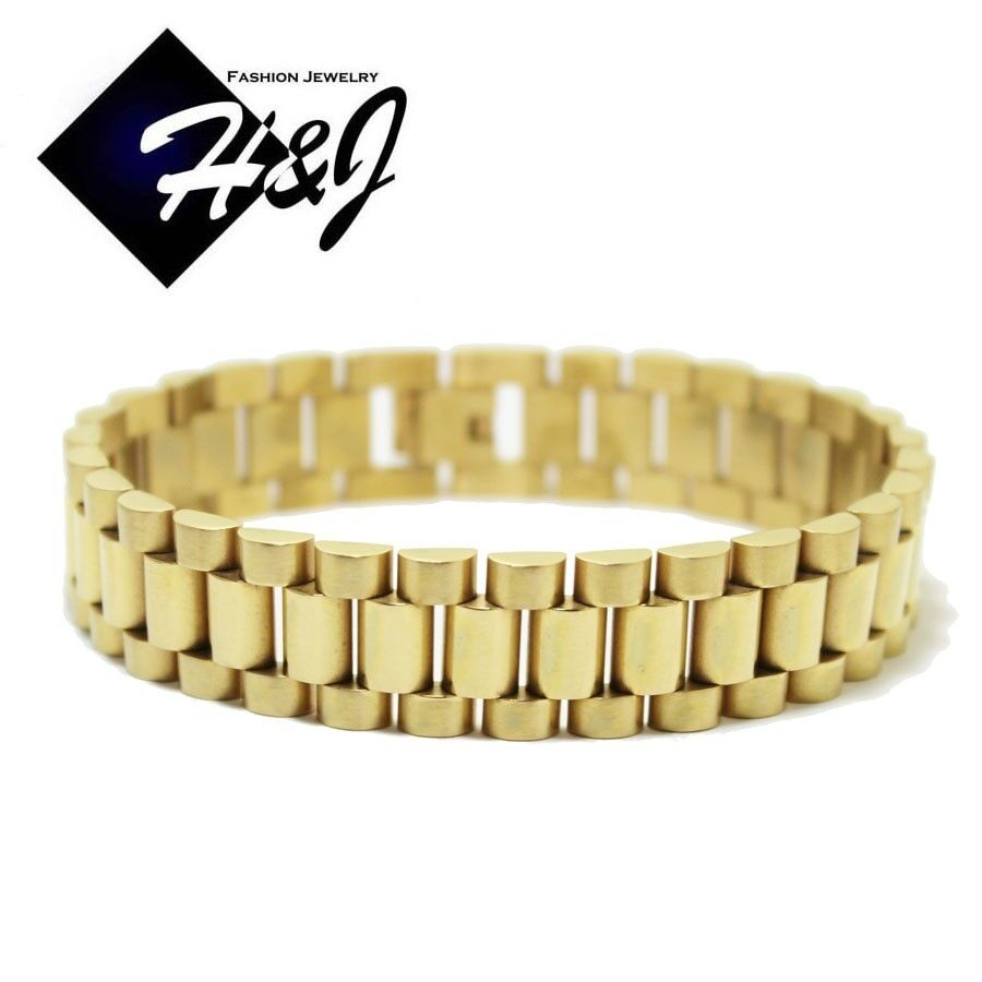 """Gold Band Bracelet: 9""""MEN's Stainless Steel 15mm Gold Watch Band Link Chain"""