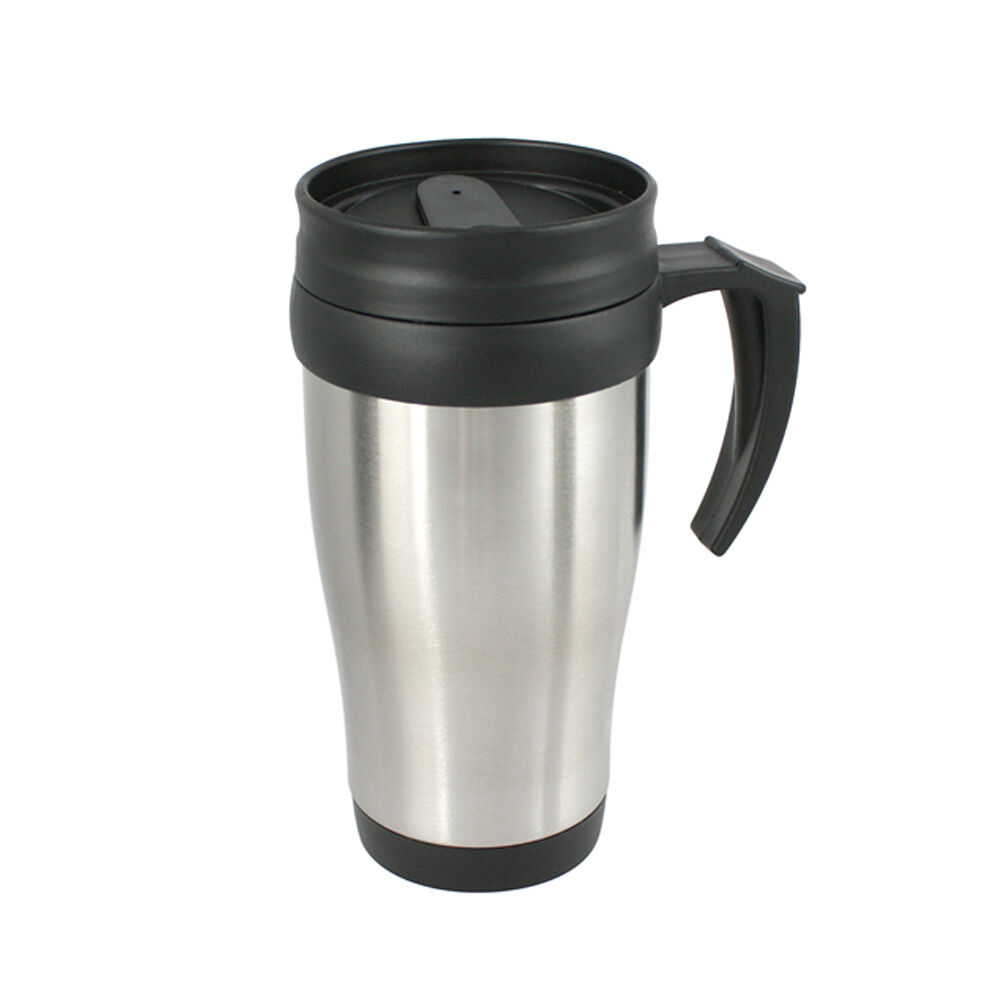 stainless steel travel mug camping car metal tea coffee cup insulated ebay. Black Bedroom Furniture Sets. Home Design Ideas