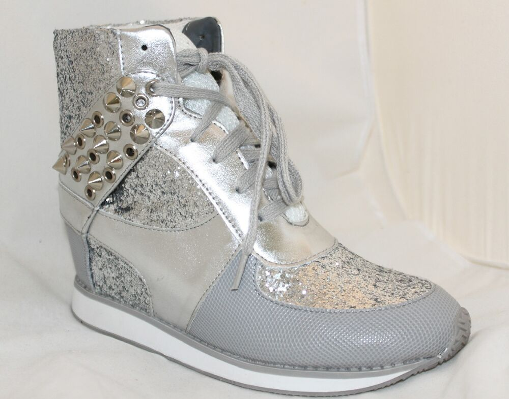 Wedge Sneakers High-Top Fashion Trainers Silver Glitter Studded PU Womenu0026#39;s Shoes | EBay