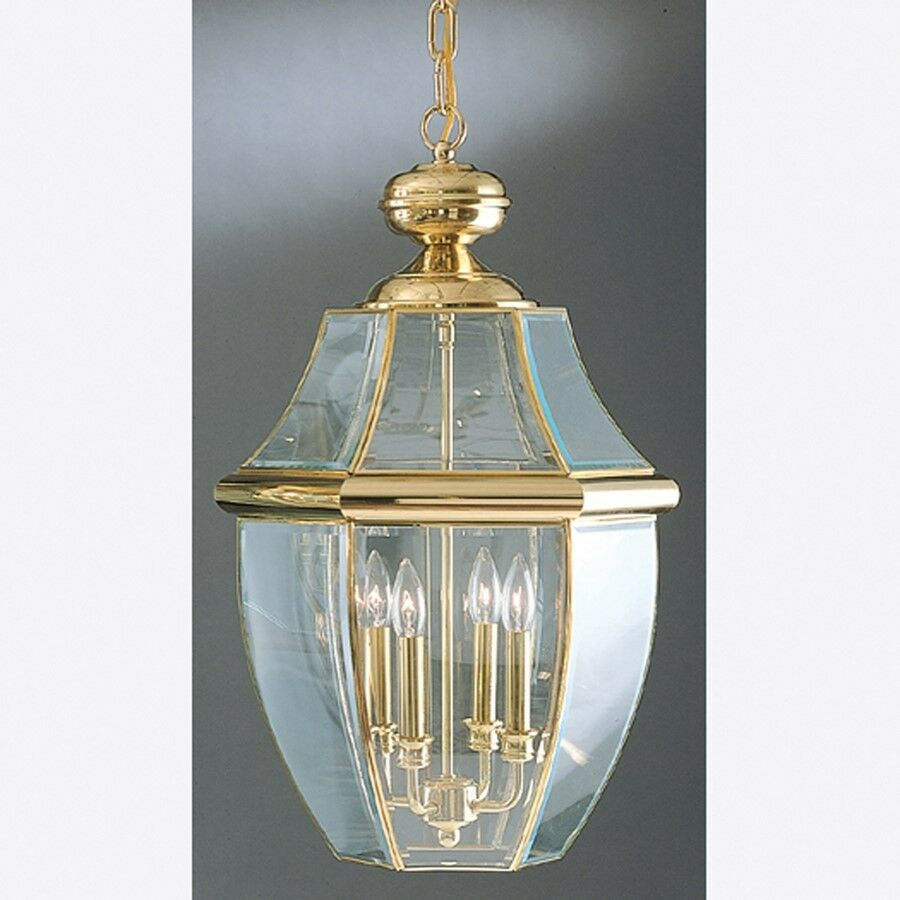 Quoizel 4 Light Newbury Outdoor Pendant In Polished Brass