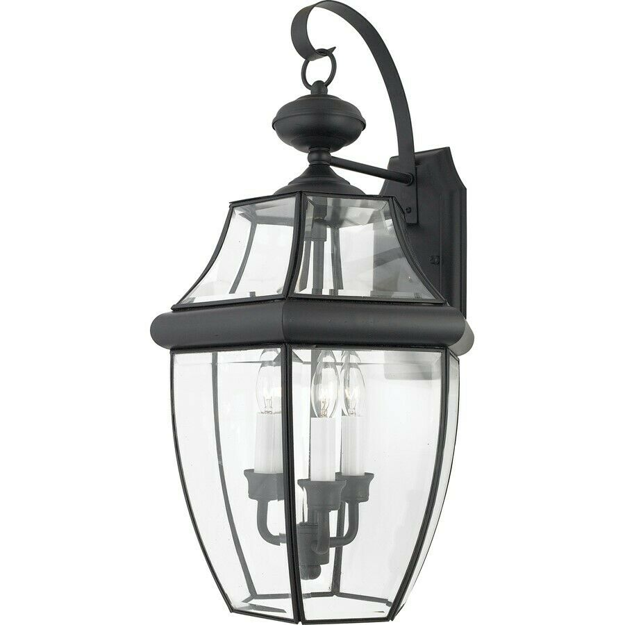 Quoizel 3 Light Newbury Outdoor Wall Lanterns Mystic Black NY8318K EBay