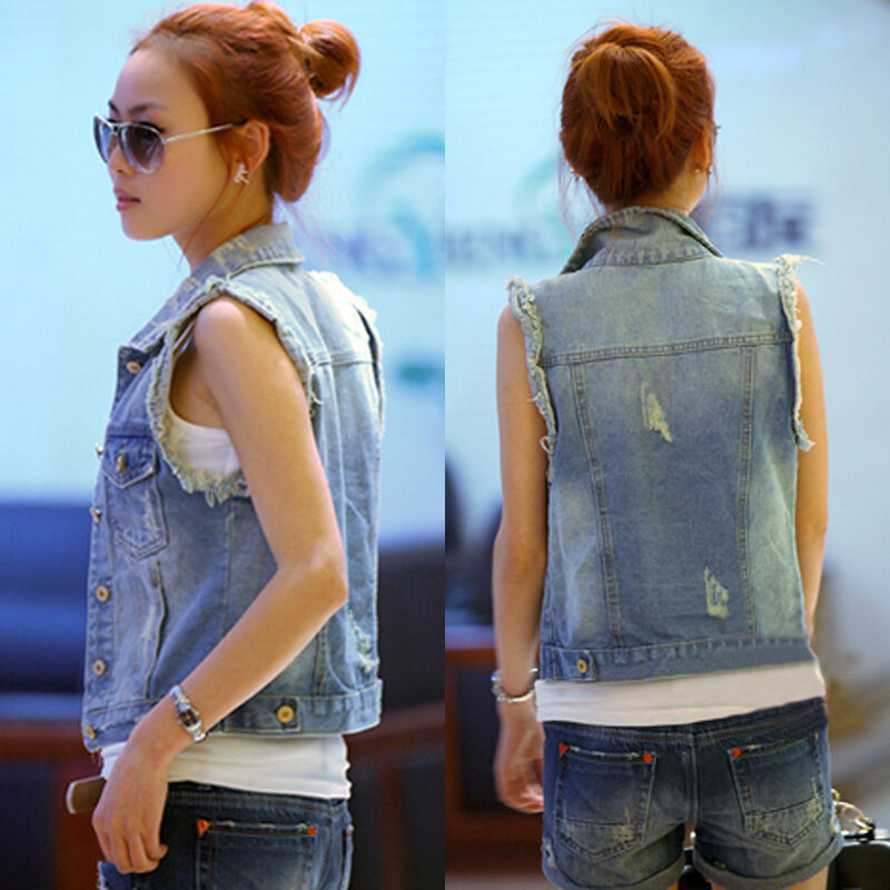 E-FAK Womens Denim Vests Sleeveless Ripped Holes Button Fashion Jeans Tops This is not US standard size, pls check our size chart and select the right one Slim Fit Denim jacket vest vintage windproof jacket, outdoor causal vest China size, pls check the .