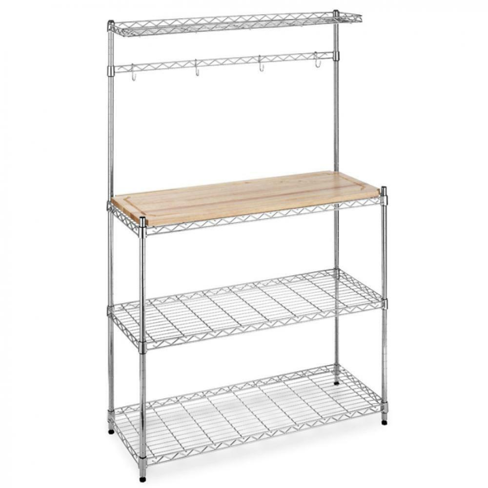 New chrome bakers rack with cutting board and storage for Racks for kitchen storage