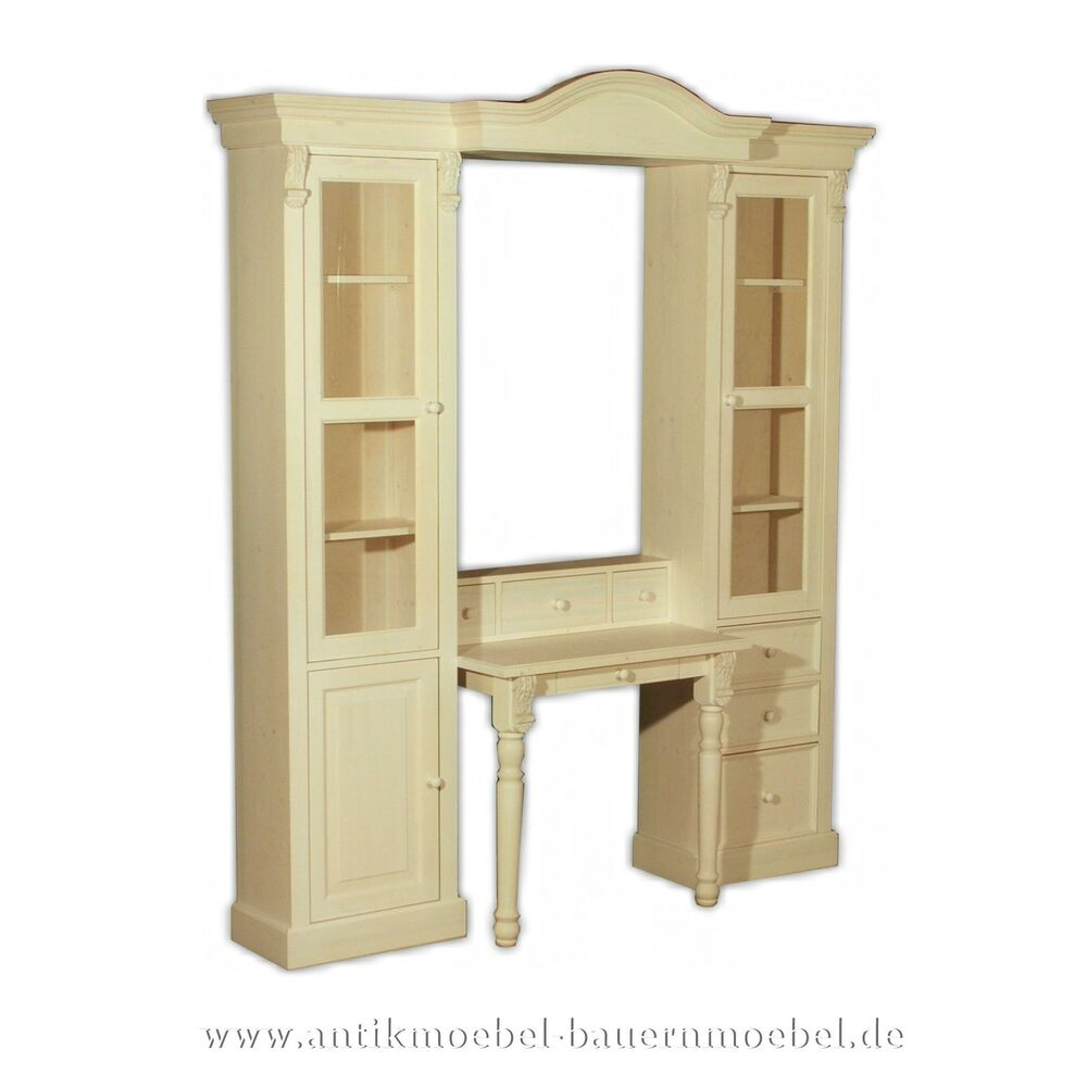 wohnzimmer schrank m bel schrankkombi wohnwand holz massiv landhausstil weiss ebay. Black Bedroom Furniture Sets. Home Design Ideas