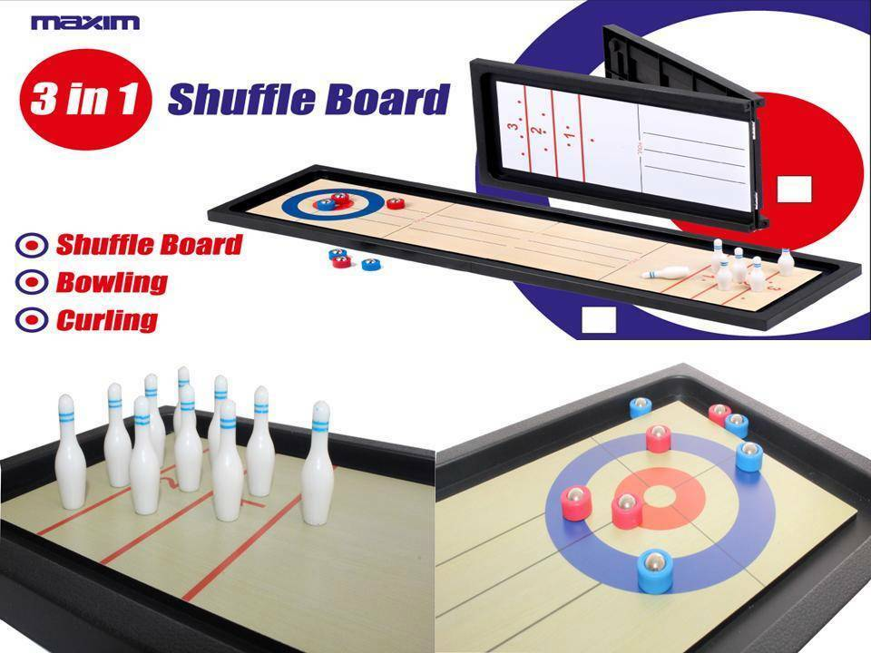Tabletop 3 in 1 sports shuffle board game mini ten pin for 10 games in 1 table