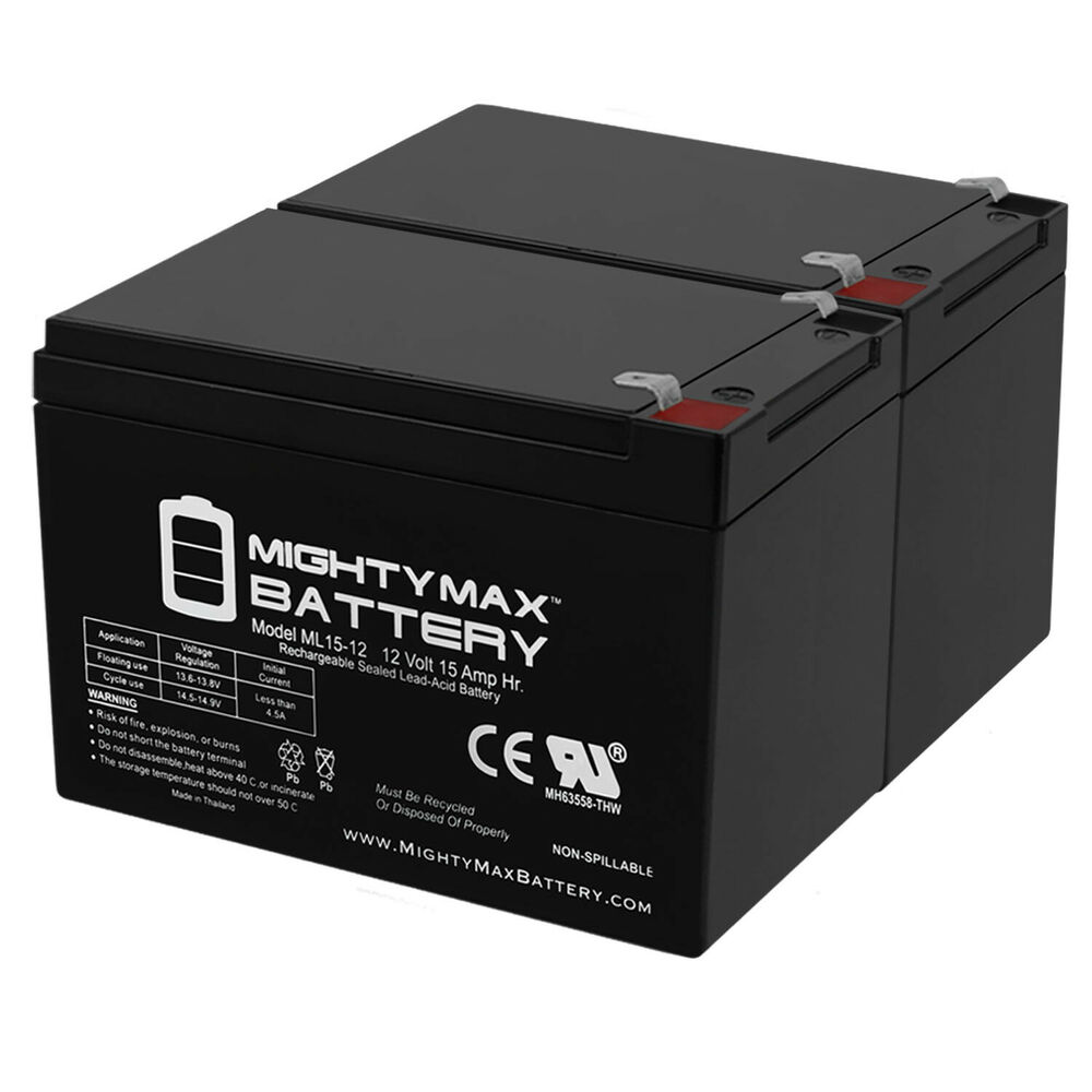 mighty max 2 pack ml15 12 12v 15ah f2 scooter bike battery replaces 14ah leoch ebay. Black Bedroom Furniture Sets. Home Design Ideas