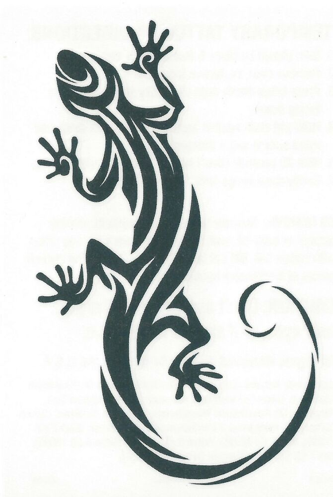 tribal gecko black outline temporary tattoo really cool tribal tat ebay. Black Bedroom Furniture Sets. Home Design Ideas