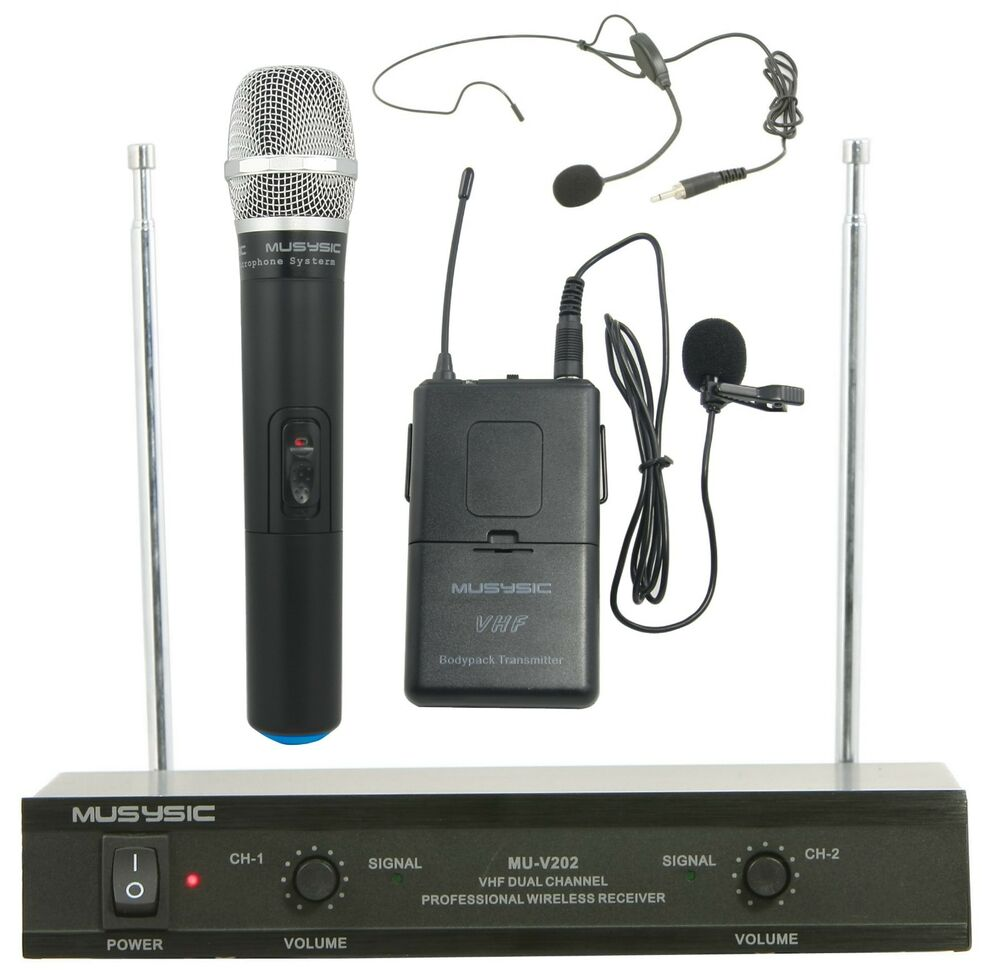 dual channel vhf wireless microphone system with handheld lapel headset ebay. Black Bedroom Furniture Sets. Home Design Ideas