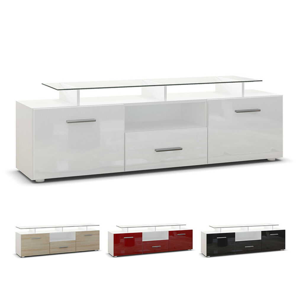tv unit stand cabinet sideboard almada white high gloss natural tones ebay. Black Bedroom Furniture Sets. Home Design Ideas