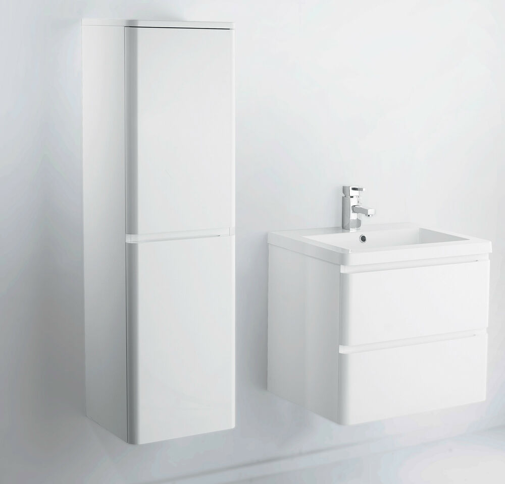 600 Mm Wall Hung Mdf White Gloss Bathroom Vanity Unit And Optional Side Cabinet Ebay